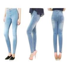 Jual Zeebee High Waist Jeans Premium Light Blue