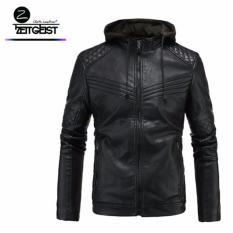 Zeitgeist Leather Black Hoodie Biker Stylish Jaket Kulit Sintetis (NW-03)