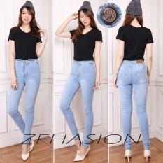 ZFASHION Celana Jeans Wanita Terbaru High Waist Skinny Blue Pensil Warna Biru