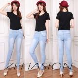 Toko Zfashion Celana Jeans Wanita Terbaru Skinny Good Quality Ice Blue Karet Warna Biru Muda 27 34 Termurah