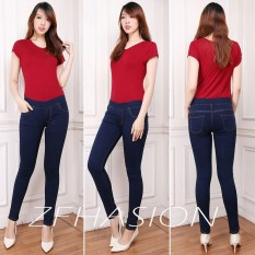 Jual Zfashion Celana Jeans Wanita Terbaru Skinny Good Quality Navy Karet Warna Biru Dongker 27 34 Branded
