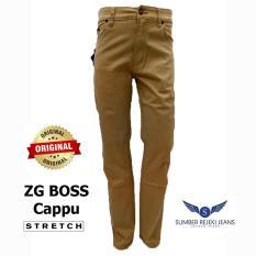 ZG BOSS - Celana Jeans Panjang pria - Warna Coklat Cappu - Stretch