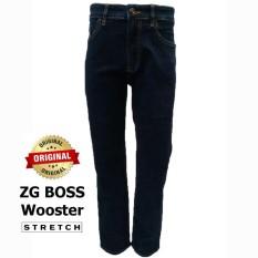 ZG Boss - Celana Jeans Pria Stretch Warna Biru Tua Wooster