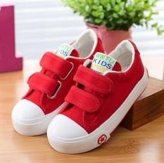 Zh Boy Kasual Sepatu Putih Sepatu Kanvas Murni Sepatu Sneakers Merah Murah