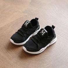 ZH Boy Sneaker Bayi Lembut Sole Sepatu Net Sepatu Putih dan Sepatu Putih Hitam-Intl