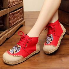ZH Facebook Bordir Antiskid Permeabilitas Tinggi untuk Sepatu Linen Merah-Intl