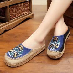 ZH Facebook Bordir Tangan Bordir Linen untuk Sepatu Wanita (Biru)-Intl