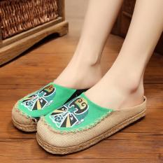 ZH Facebook embroidery hand-embroidered linen for women's shoes (Green) - intl