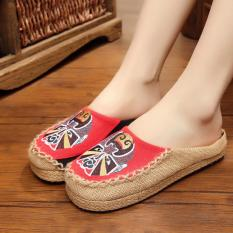 ZH Facebook embroidery hand-embroidered linen for women's shoes (Red) - intl