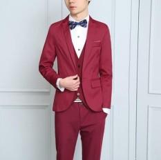 Zh Kenyamanan Cocok Pria Tiga Buah Badan Body Karir Bisnis Western Gaun Groom Pernikahan Gaun (Tiga Set) merah-Internasional