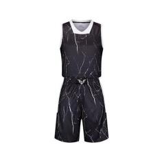 ZH Pria Basket Seragam Kamuflase Batu Berwarna Baju Basket Pelatihan Seragam Hitam-Intl