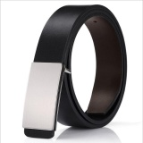 Harga Zh Sabuk Kulit Pria Fashion Casual Youth Plate Button Belt Dengan Lancar Buckle Bisnis Cowhide Belt Black Zh Terbaik