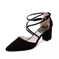 ZH Menunjuk Di Cross Gelang Tali Sepatu Sandal Wanita (Hitam)-Intl