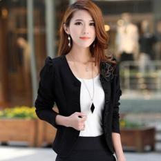 ZH Shopping Nn. Han Edisi Menumbuhkan Moralitas Seseorang Kecil Pendek Double-breasted Jas Hitam-Internasional