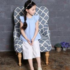 Toko Zhongshan University Anak Anak Baru Lebar Kaki Celana Celana Katun Rompi Kemeja Biru Putih Celana Online
