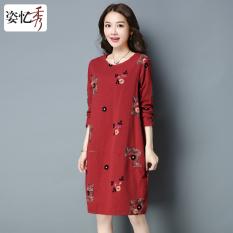 Beli Yi Yi Xiu Musim Semi Bottoming Rok Gaun Lengan Panjang Merah Terbaru