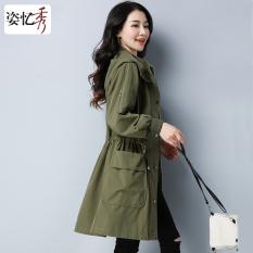 Yi Yi Xiu Wanita Kasual Di Bagian Panjang Jaket Angin Tentara Hijau Promo Beli 1 Gratis 1