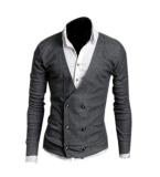 Spesifikasi Zigzagzong Korea Lengan Panjang Pria Model Double Breasted Atasan Rajut Kardigan Melar Abu Abu Dark International Terbaik