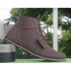 ZimZam Brodo buk Sepatu Boots Pria - Kulit Asli Brown