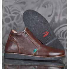 Toko Zimzam Zipper Bambie Sepatu Boots Pria Kulit Asli Cokelat Online Terpercaya