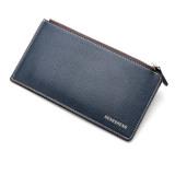 Spesifikasi Zipper Long Men Leather Wallet Dark Blue Yang Bagus Dan Murah