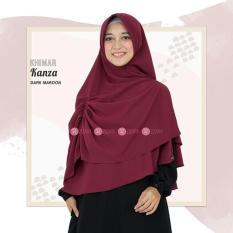 Zizara Khimar Kanza Dark Maroon - Hijab Kerudung Khimar Jilbab Syari