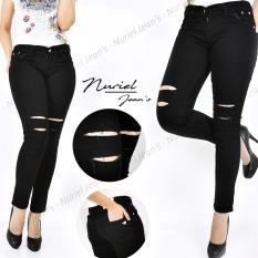 Jual Zjeans Celana Jeans Wanita Terbaru Sobek Silet 2 Hitam 27 30 Jeans Wanita Branded