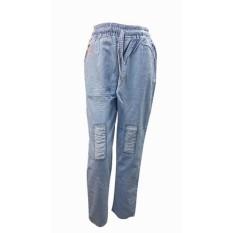 ZFASHION Celana Jeans Wanita Terbaru Ripped Tali Warna Biru ALL-SIZE