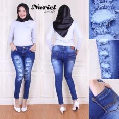 ZJeans Celana Jeans Wanita Terbaru Premium Quality Skinny Sobek  Biru 27-34