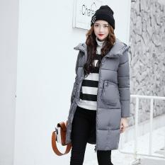 ZMGANG Asal Desain-2017 Wanita Musim Dingin Baru Hangat Bulu Bagian Panjang Ramping Berkerudung Saku Besar Mantel Bulu-Grey -Intl