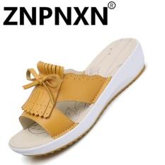 Jual Znpnxn Sendal Pantai Wanita Sepatu Flat Non Slip Sendal Wanita Kulit Musim Panas Fesyen Perempuan Kuning Intl Znpnxn Di Tiongkok