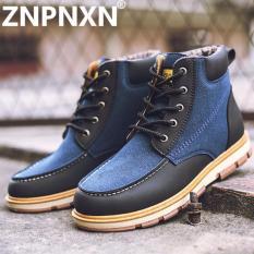 Beli Znpnxn Kaus Pria Salju Boots Botas Masculina Fashion Microfiber Pu Plush Boots Hangat Pria Musim Dingin Boots Sepatu Kasual Sepatu Biru Intl Tiongkok