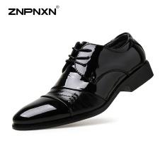 Pria's Sepatu Fashion Sepatu Kulit Lace-Up Black Sepatu Mewah Pria Split Sepatu Kulit Mens Sepatu Kasual Zapatos Hombre (Hitam) -Intl