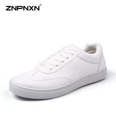 Promo Pria S Sepatu Lace Up Black Kasual Mode Sepatu Men S Shoes Pu Leather Designer Sepatu Pria Berkualitas Tinggi Zapatos Lelaki Putih Intl Znpnxn Terbaru