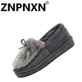 Harga Hemat Znpnxn Sepatu Flat Wanita Musim Dingin Fashion Cotton Casual Sepatu Grey Intl