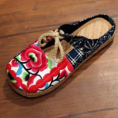 Spesifikasi Znpnxn Kaus Wanita Thailand Sepatu Straw Flat Heel Sepatu Slip Ons Sandal Rumah Mocassins Loafer Merah Online