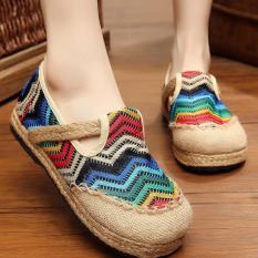 Ulasan Lengkap Tentang Znpnxn Kaus Wanita Thailand Sepatu Straw Shoes Lace Up Shoes Mocassins Loafer Biru