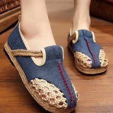 ZNPNXN KAUS Wanita Thailand Sepatu Straw Sepatu Silp-on Sepatu Mocassins & Loafer (Biru)