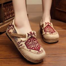 Diskon Znpnxn Kaus Wanita Thailand Sepatu Straw Sepatu Silp On Sepatu Mocassins Loafer Merah