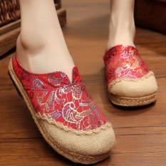 Cuci Gudang Znpnxn Kaus Wanita Thailand Sepatu Straw Sepatu Silp On Sepatu Mocassins Loafer Merah