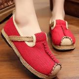 Diskon Znpnxn Kaus Wanita Thailand Sepatu Straw Sepatu Silp On Sepatu Mocassins Loafer Merah Akhir Tahun
