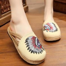 Jual Znpnxn Kaus Wanita Thailand Sepatu Straw Sepatu Slip Ons Sepatu Mocassins Loafer House Sandal Beige Original