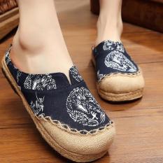 Ulasan Mengenai Znpnxn Kaus Wanita Thailand Sepatu Straw Sepatu Slip Ons Sepatu Mocassins Loafer House Sandal Navy Biru