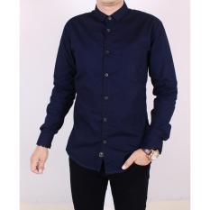 Zoeystore 5113 Kemeja Polos Exclusive Pria Lengan Panjang Baju Kemeja Polos Kerja Kantoran Cowok Biru Navy