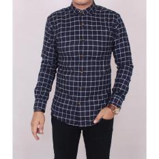 Spesifikasi Zoeystore 5432 Kemeja Flanel Exclusive Pria Lengan Panjang Baju Kemeja Flannel Cowok Kerja Kantoran Navy Kotak Putih Paling Bagus