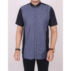 Diskon Zoeystore 5449 Kemeja Kombinasi Pria Lengan Pendek Exclusive Baju Kemeja Print Cowok Kerja Kantoran Baju Kemeja Formal Hitam Biru Akhir Tahun