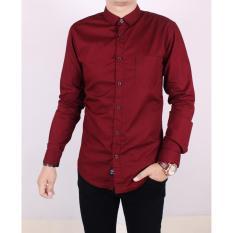 Zoeystore1 5114 Kemeja Pria Lengan Panjang Baju Kemeja Fomal Cowok Exclusive Merah Maroon