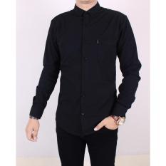 Zoeystore1 5115 Kemeja Pria Polos Lengan Panjang Baju Kemeja Fomal Cowok Exclusive Hitam