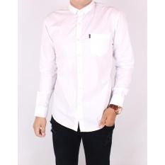 Zoeystore1 Kemeja Exclusive Pria Lengan Panjang Putih Polos / Baju kemeja Polos Formal Cowok Kerja Kantoran 5033 Katun Jeans Switer M,L,XL White