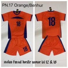 Zone Sport - Setelan Baju Kaos Jersey Tim Bola Futsal Sepakbola Voli BPN.17 Orange/Benhur